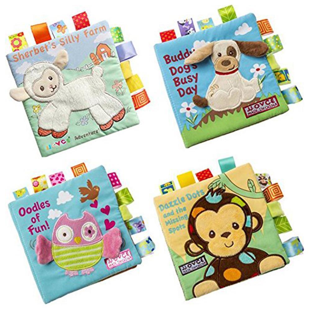 4 unids/set 3D Animal bebé libros de tela suave rusting actividad de sonido aprendizaje enseñanza bebé tela libro juguete nuevo