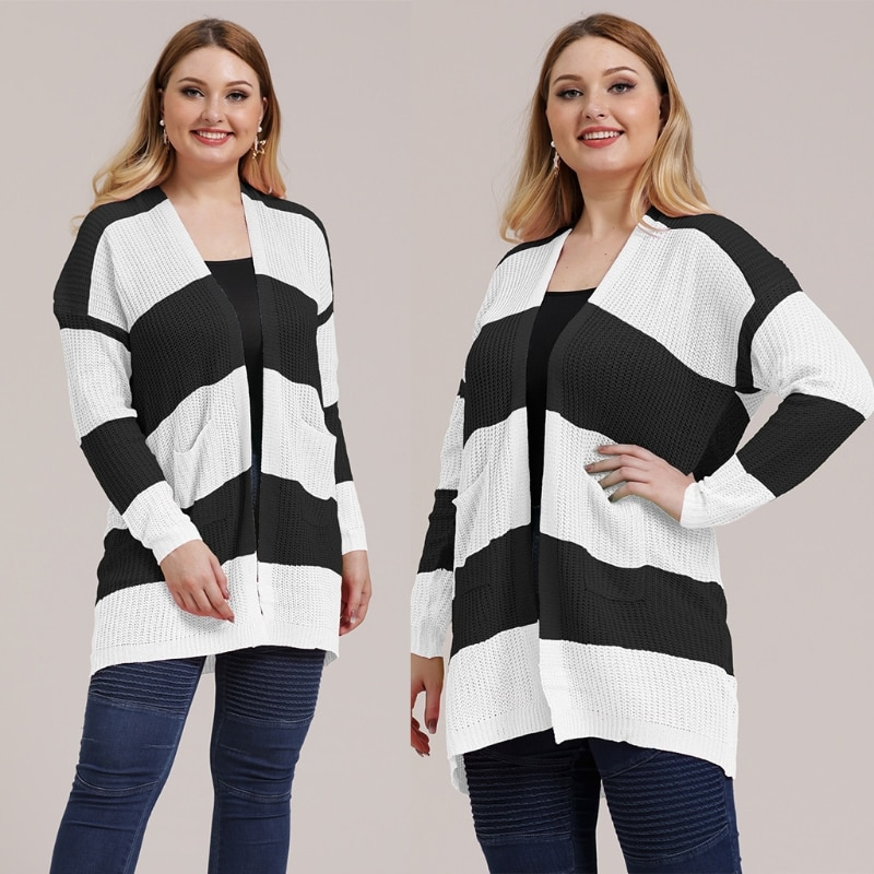 Women Open Front Cardigan Colorblock Striped Knitted Loose Sweater Coat XL-3XL enlarge