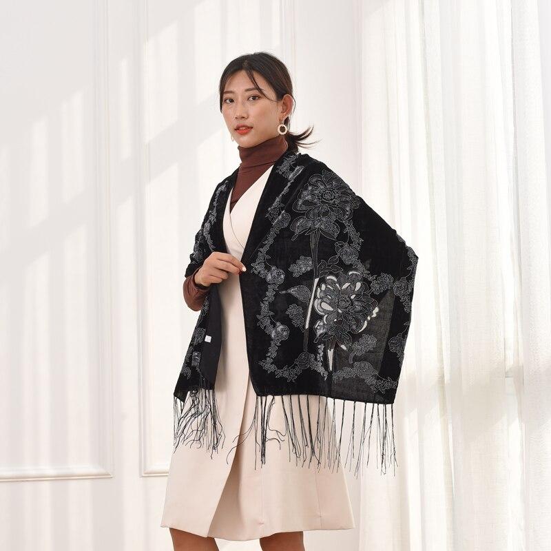 All Black Velvet Burnout Scarf Women Doble Floral Designer Muslim Scarf Winter Silk Wrap islam Fashion Lady Ladies Scarves