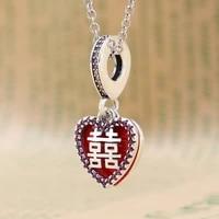 hot 925 silver bracelet necklace pendant chinese style double happiness love pendant diy bracelet jewelry