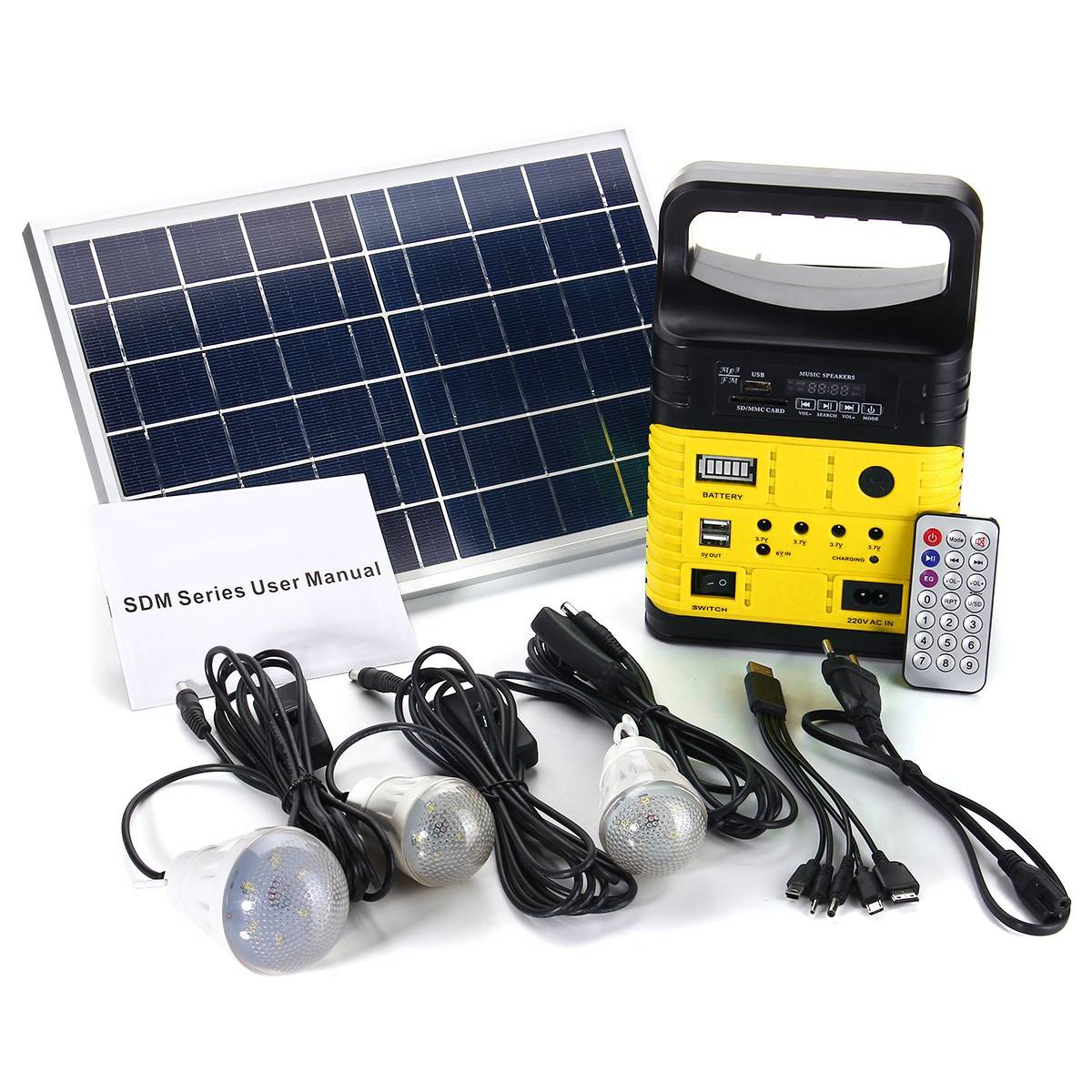 Generador Solar portátil de 10W, potencia exterior, Mini Panel Solar DC6W, sistema de iluminación LED de carga de batería de plomo-ácido 6V-9Ah