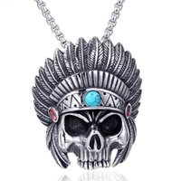 new stainless steel mens indian chief pendant necklace personality feather skull jewelry pendant
