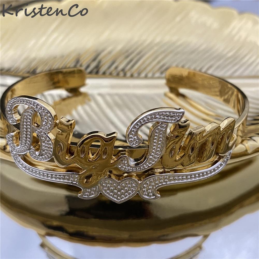 كريستنكو اسم مخصص مع سوار على شكل قلب اسم سوار مطلية بالذهب اسم الفولاذ المقاوم للصدأ سوار يتناسب مع الاحتياجات الشخصية