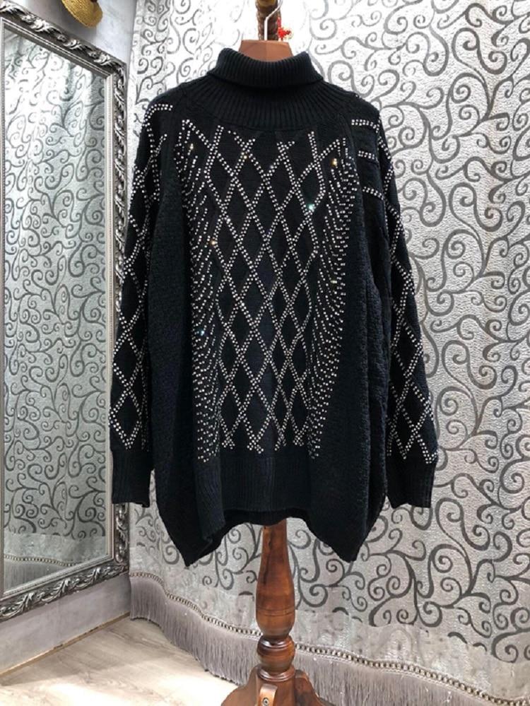 Turtleneck Sweaters 2020 Autumn Winter Warm Tops Women Geometric Patterns Knitting Sequined Deco Long Sleeve Loose Long Sweaters enlarge