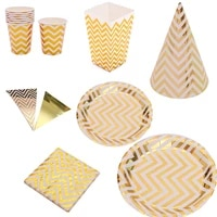 gold striped disposable tableware set birthday party decorations paper cup plates happy birthday party baby shower wedding decor