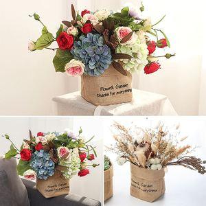 Jute Canvas Plant Flowers Pots Washable Succulents Planter Pot Sundries Storage Basket Office Home Organizer Bag Home Decoration