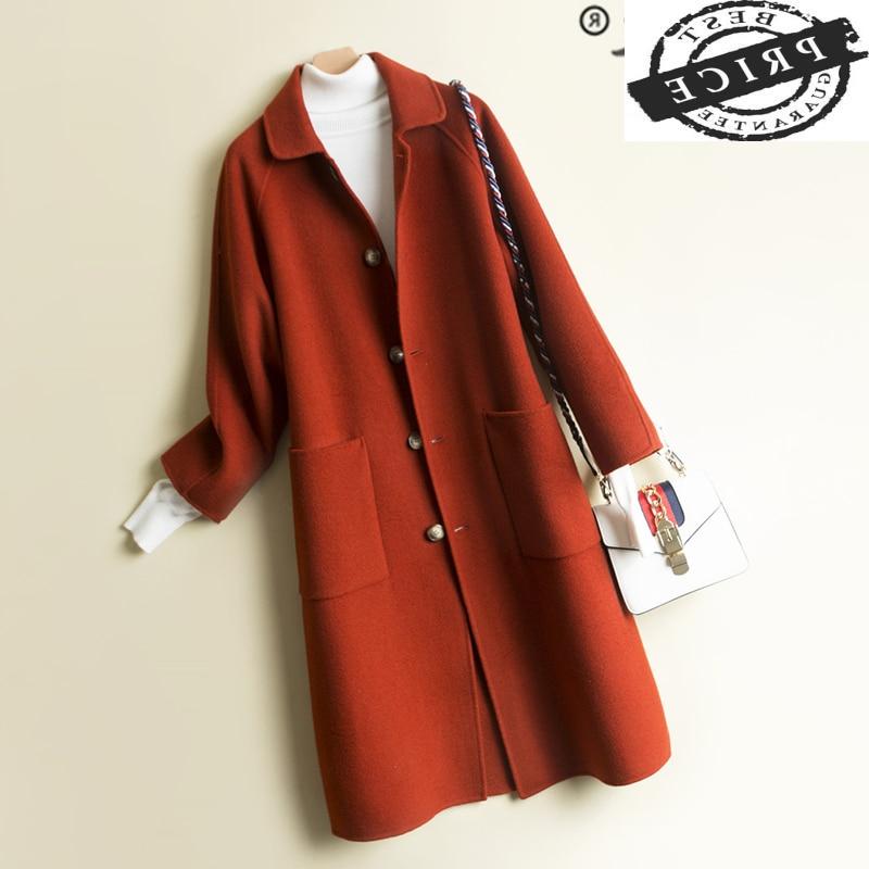 Abrigo elegante de lana de 100% coreano para Mujer, Chaqueta larga de...