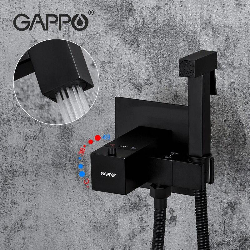 GAPPO-صنبور دش نحاسي مع رأس ثرموستاتي ، بيديت ، أسود