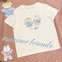 sweet y2k aesthetic cute womens t shirt kawaii o neck tees summer cartoon pattern printing short sleeve top girly costume