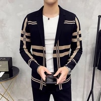 mens knitted sweater jacket 2021 men fashion high quality brand slim striped long sleeve suit collar cardigan wool jacket coat