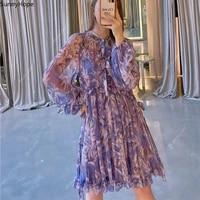 100 silk new printed long sleeve loose mini dress