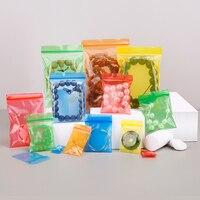 HARDIRON 500PCS Five Color Red Yellow Blue Green Orange Zipper Sealed Bag Jewelry Powder Storage Plastic Package Pouchs