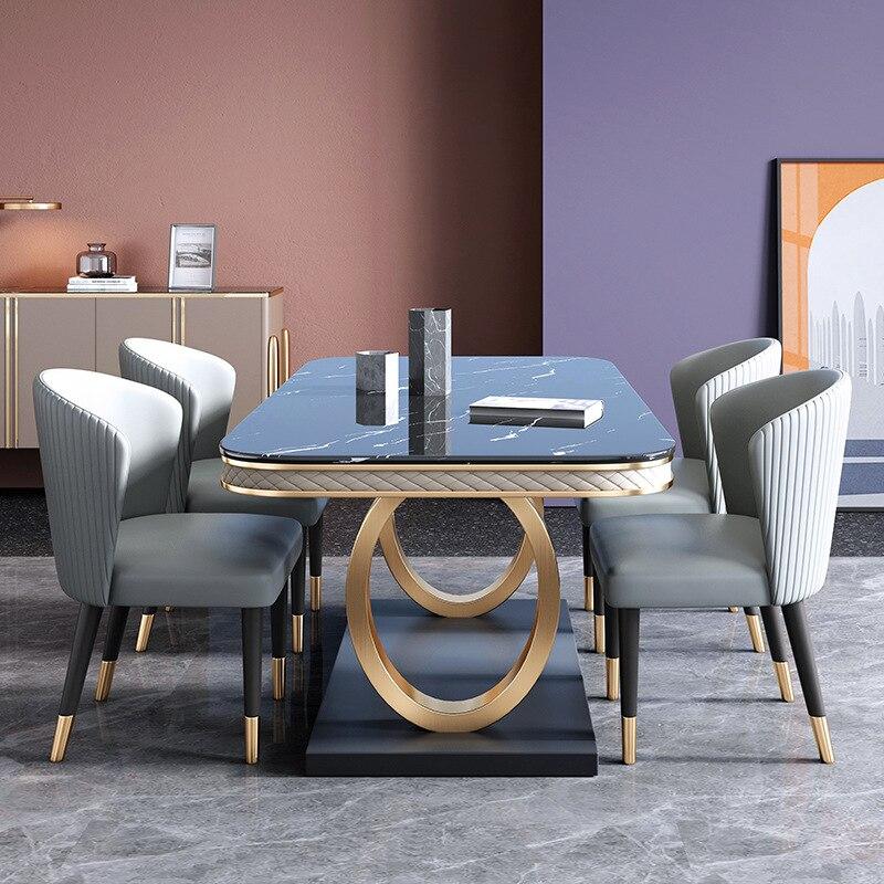 طاولات طعام زفاف إيطالية من الفولاذ المقاوم للصدأ ، طقم فاخر مكون من 6 كراسي ، طاولة طعام رخامية حديثة