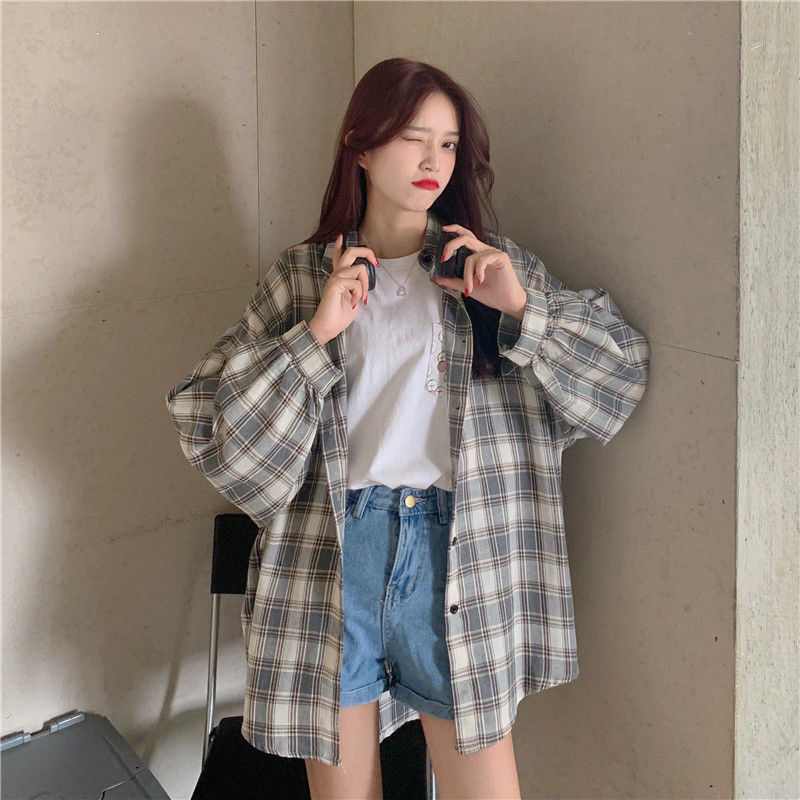 HOUZHOU Plaid Shirts Women Long Sleeve Cardigan Vintage Top Black Checked Shirt Cute Button Up Oversize Korean Fashion Blouse