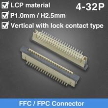 Connecteur FFC/FPC 1.0MM pas 4P 5P 6P 7P 8P 9P 10P 12P 13P 15P 16P 17P 20P 22P 25P 26P 30P 32P Vertical avec Type de Contact de verrouillage