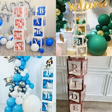 White/Rose Gold Transparent Block Box Letter A-Z Custom Baby Name Balloon Box Baby Shower Decorations Boy Girl Birthday Supplies