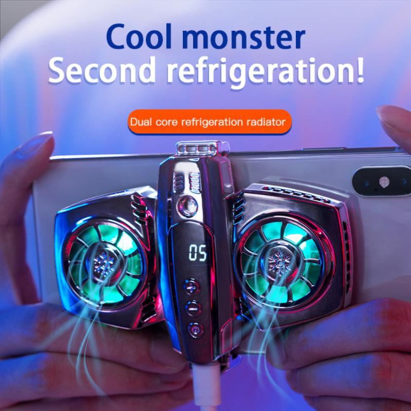 K4 الهاتف المحمول المبرد مع الهاتف الذكي عرض درجة الحرارة المزدوج مروحة التبريد الهاتف الخليوي برودة لهواوي آيفون Xaiomi سامسونج