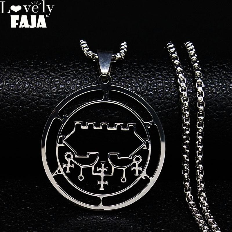 2020 Sceal Sigil De Lucifer Necklace for Men/Women Stainless Steel Necklace of Satan Belial seal Lazer key Baphomet