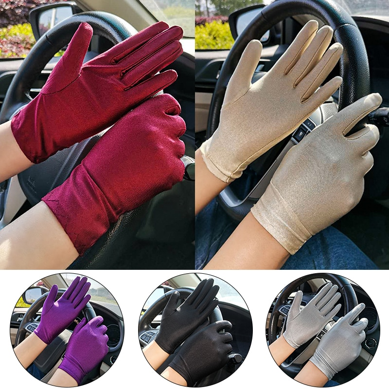 Summer Spandex Gloves For Women Sunscreen Thin Stretch Pure Color Tight Ladies Drive and Mittens Female перчатки