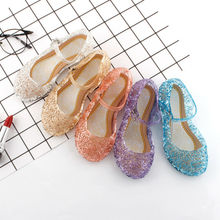 Été enfants filles chaussures cristal sandales princesse chaussures gelée chaussures à talons hauts Elsa cendrillon Cosplay chaussures