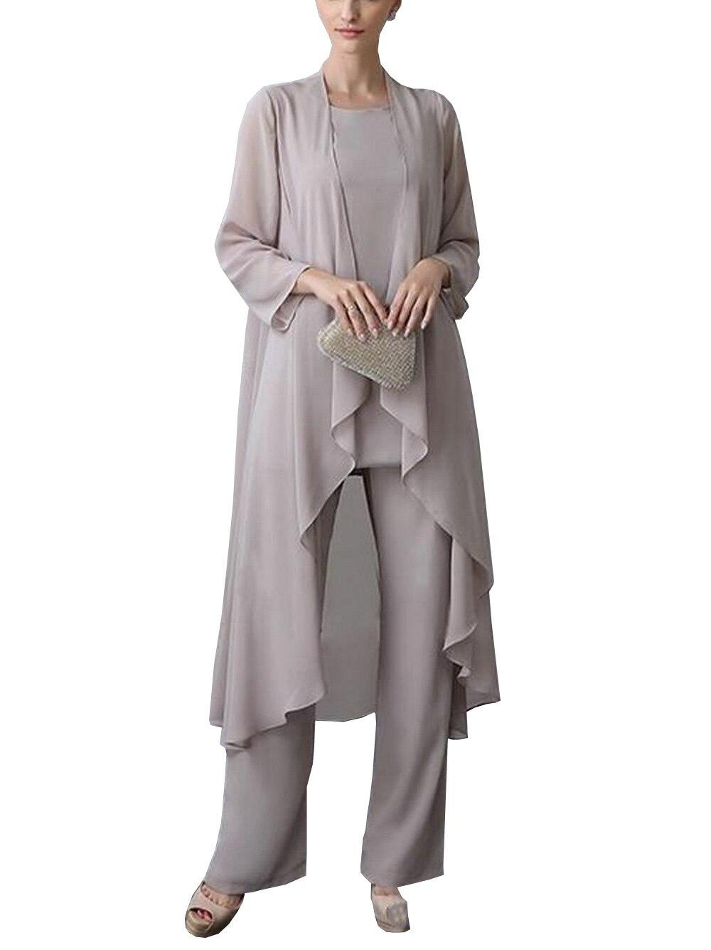 فستان شيفون بدون أكمام ، رقبة مستديرة ، ثلاث قطع ، فضي ، للأم ، فستان أنيق لحفلات الزفاف