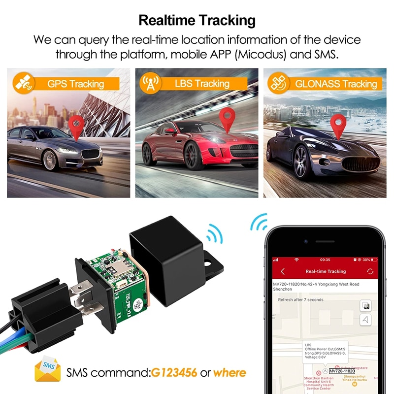 Latest MV720 Relay GPS Tracker Car GPS GSM Locator Tracking Remote Control Anti-theft Monitoring Cut Oil Power Mini Car Tracker
