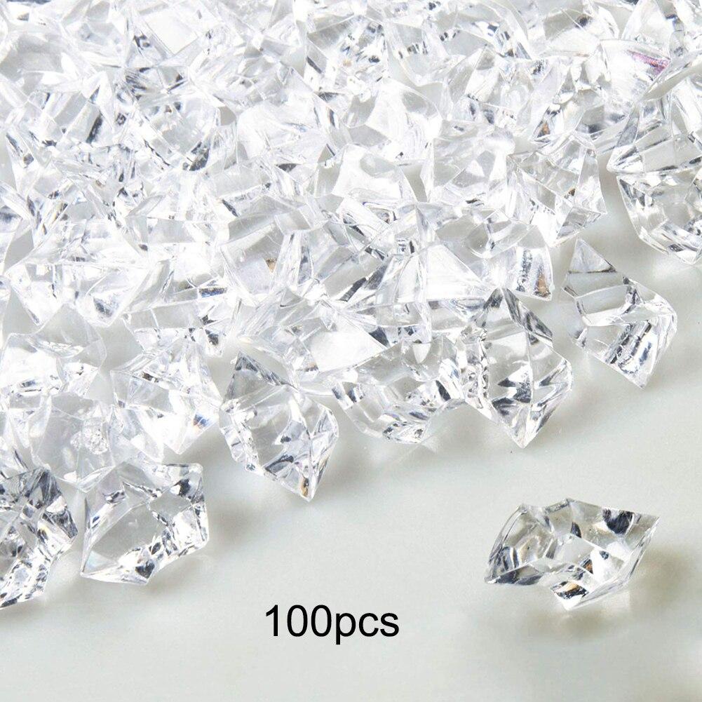 Neue 100 stücke Klar Acryl Diamant Kristall Eis Rock Steine Vase Edelsteine Unregelmäßigen Hochzeit Party Decor Confetti Tisch Streuen Perlen