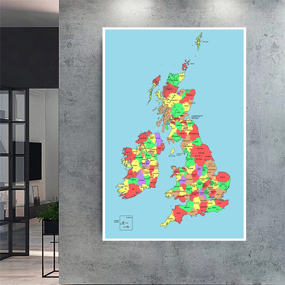 100*150 Cm The United Kingdom Map Wall Poster Card Non-woven Canvas Painting LIving Room Home Decoration School Supplies
