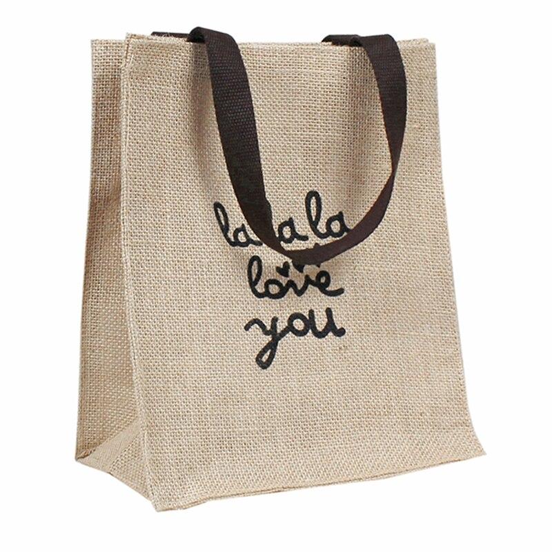 Складные сумки, женские хлопковые пеньковые сумки для ланча, сумка для покупок с принтом, размеры s,m,l, сумки для книг, портативные сумки для п...