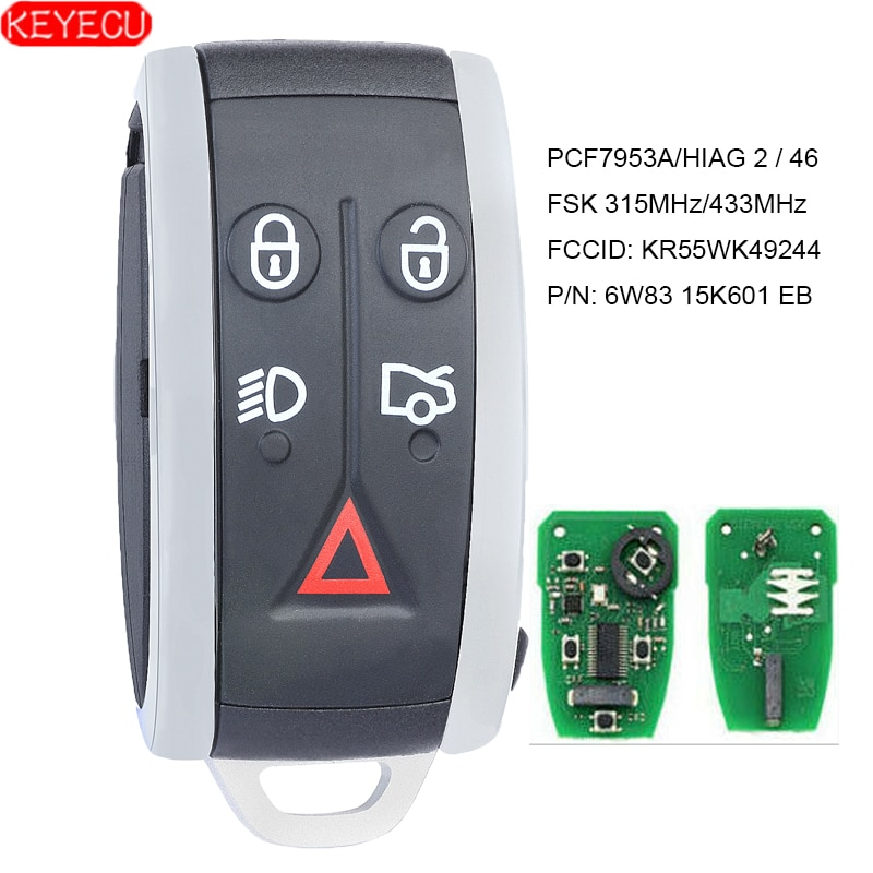 KEYECU Smart Remote Key 315MHz/433MHz PCF7953A 5 Button for Jaguar XF XFR XK XKR 2009 2010 2011 2012 2013 - FCC:KR55WK49244