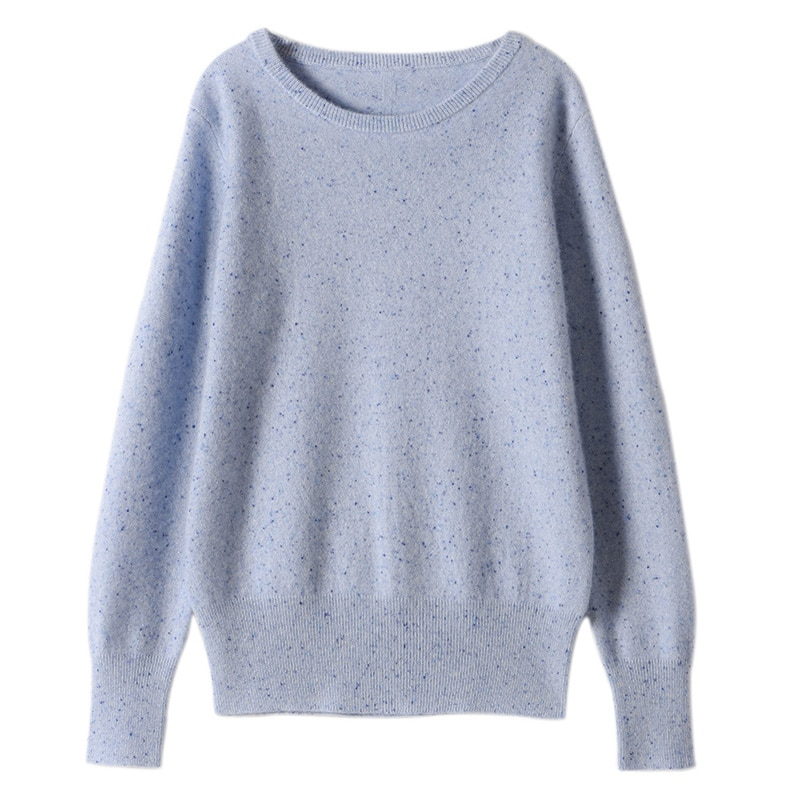 SuyaDream Women Sweaters 65%Cashmere 35%Wool O neck Dots Pullovers 2021 Fall Winter Warm Sweaters for Woman enlarge