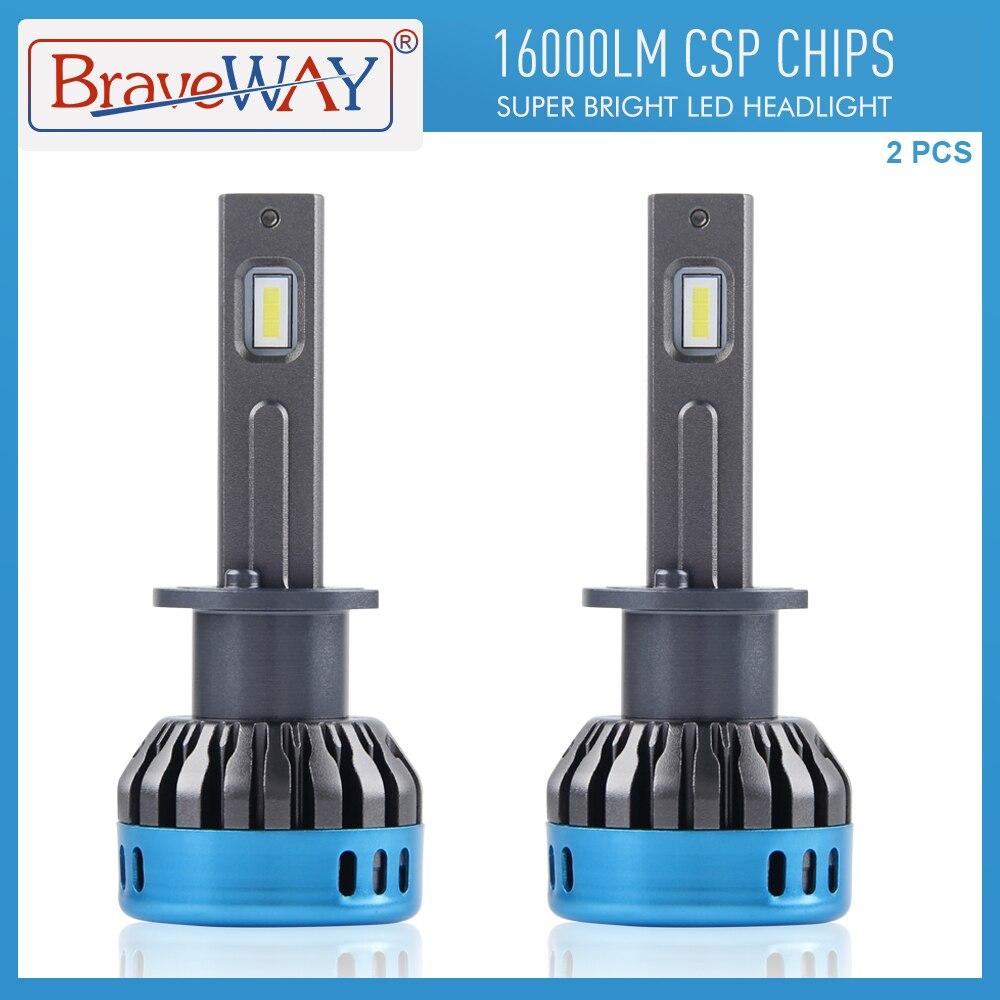 BraveWay H7 LED لمبات ل سيارة المصابيح الأمامية السيارات مصابيح H1 H4 H11 9005 HB3 9006 HB4 H4 LED H1 16000LM 6500K 50W 12V الضباب أضواء