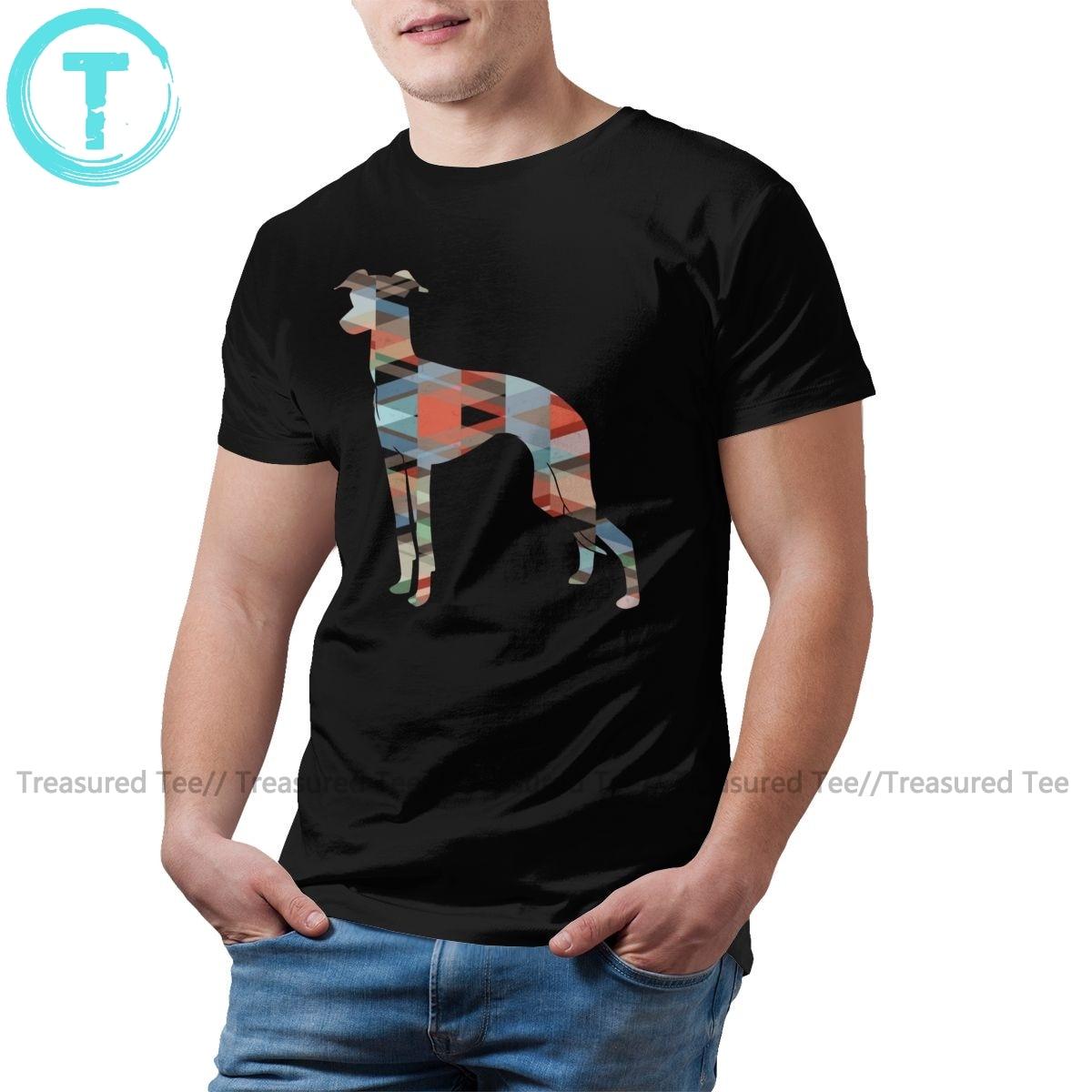Левретка футболка с геометрическим узором силуэт Футболка A 100 процентов хлопковая футболка «Человек 4xl Футболка