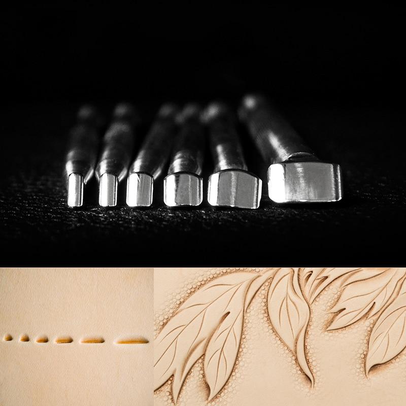 Ferramenta de Escultura de Couro de Aço Estampagem de Couro Inoxidável Impressão Artesanato Ferramenta Decoração Padrão Faça Você Mesmo Material 6 Tamanho