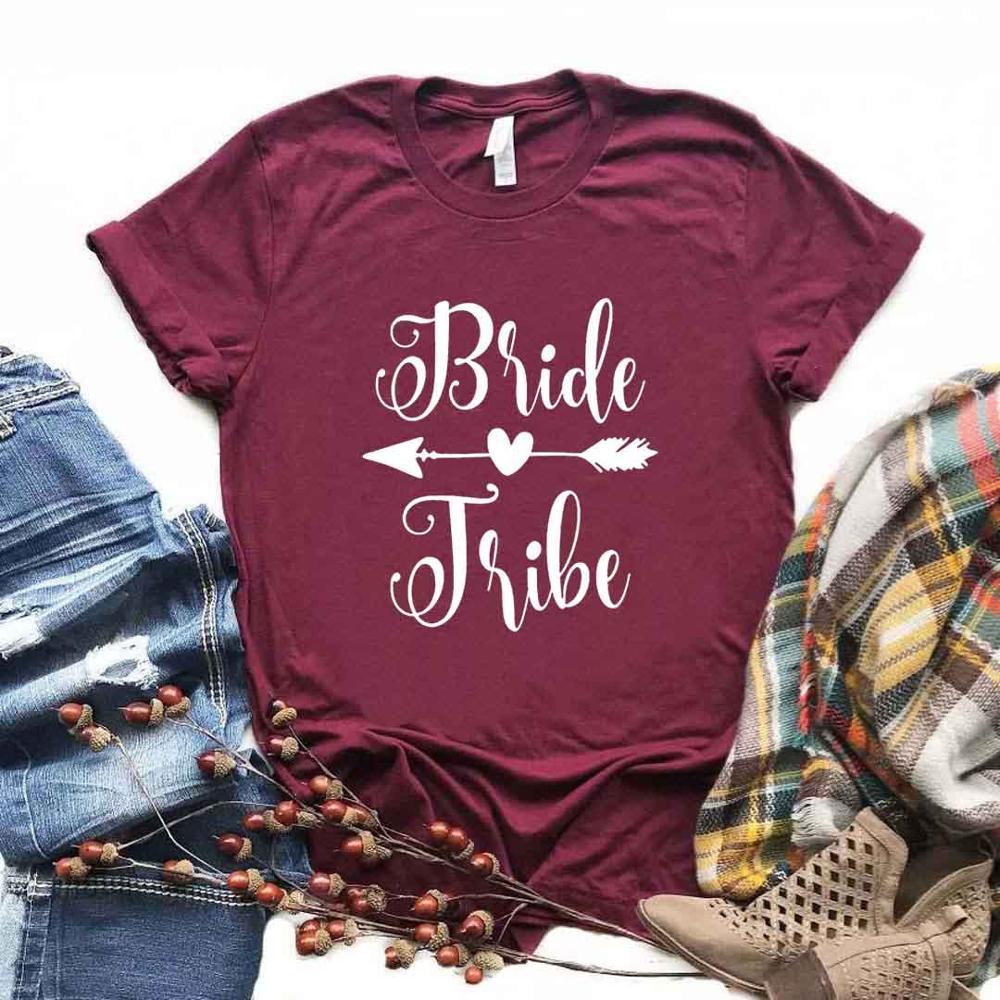 Mariée tribu flèche impression femmes t-shirt coton décontracté drôle t-shirt cadeau pour dame Yong haut pour fille t-shirt 6 couleur A-1021