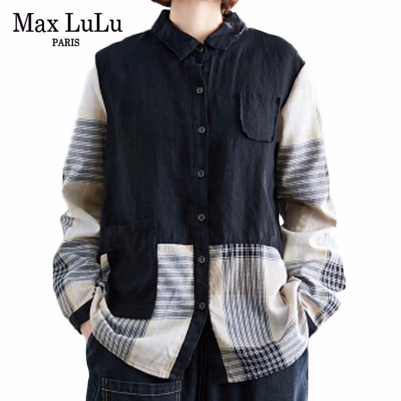 Max lulu 2020 estilo de moda coreano senhoras primavera camisas do vintage das mulheres soltas retalhos topos e blusas feminino listrado roupas