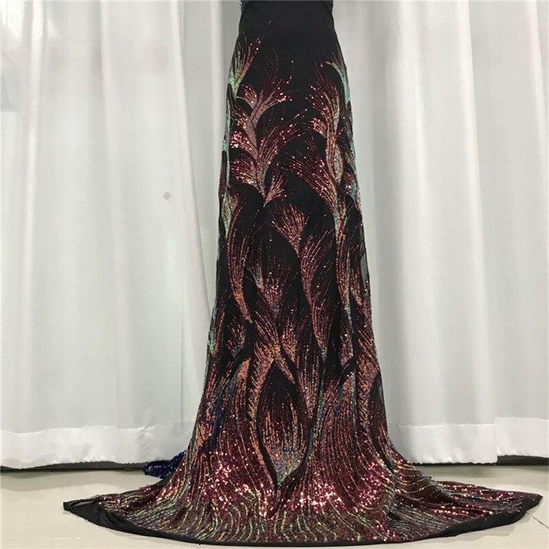 Vino 5 yardas Tela de encaje de malla Africana 2020 bordado de alta calidad con lentejuelas tul francés telas de encaje para vestido de fiesta de boda