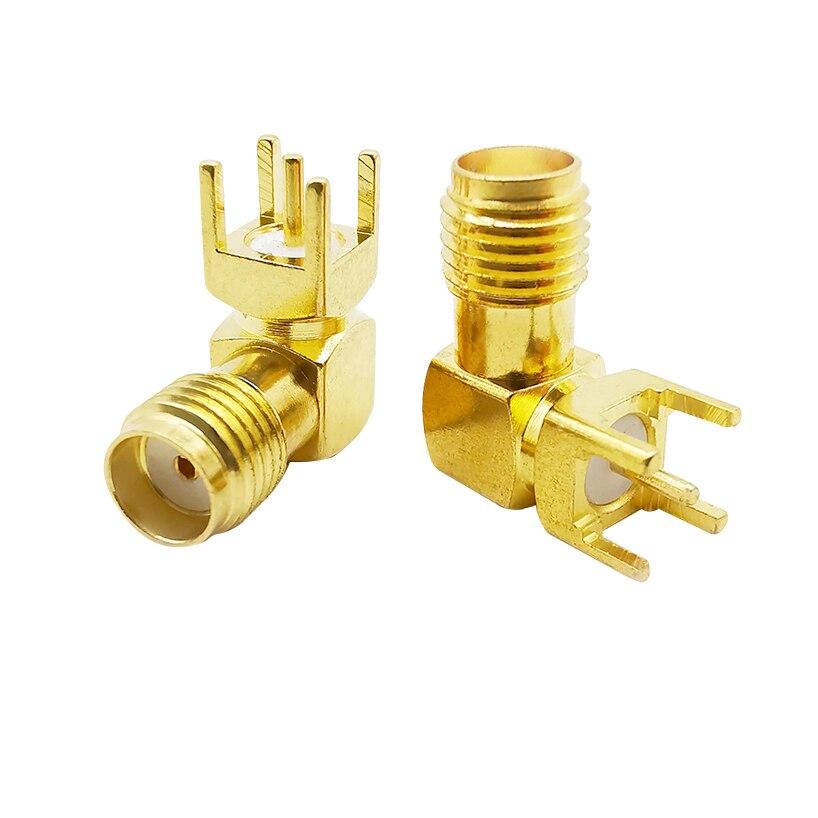2 pces sma fêmea jack ângulo direito 90 graus (SMA-KWE) rf adaptador coaxial 4 pinos quadrado suporte pcb montagem do painel através do furo conector