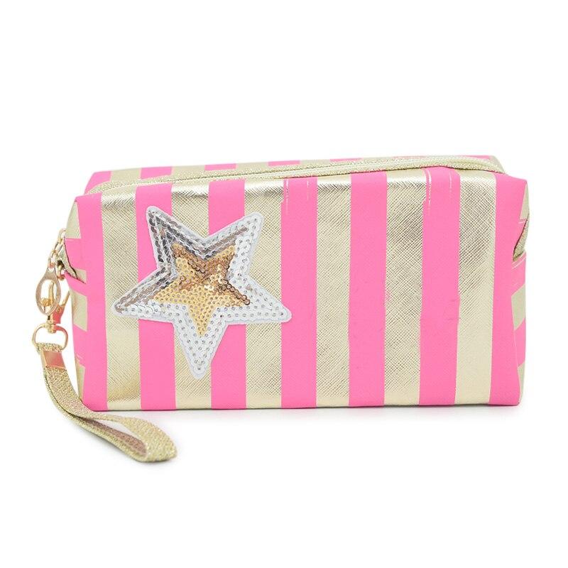 Bolsa de cosméticos portátil para Mujer, bolsa de maquillaje a rayas brillantes,...