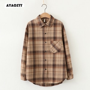 Womens plaid shirts women blouses and tops women's over-shirt tiles long sleeve checked Spring Autumn Lady plus size Shirt