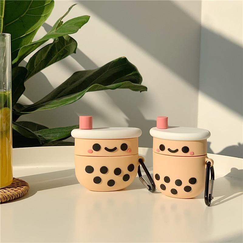 Чехол для Airpods 1 2, милый 3D-чехол с брелоком в виде молочного чая и пузырьков, чехол для беспроводных наушников с поддержкой Bluetooth, чехол для ... чехол