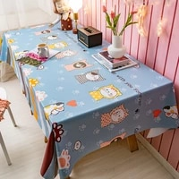 pvc cute cartoon square table cloth nordic waterproof and oil proof anti scalding disposable desk mat restaurant table runner