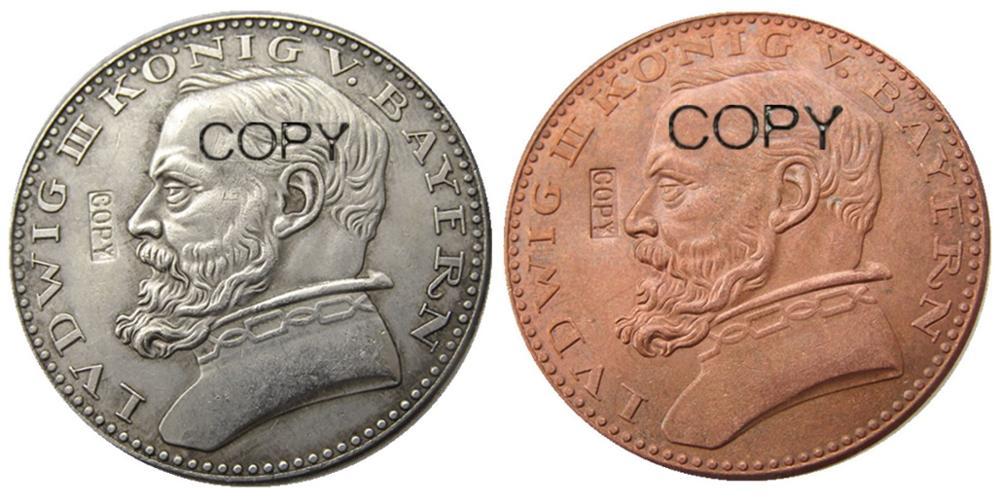 Alemán 1913 CU patrón 5 marcas cobre/plata chapado alemán ST Baviera Lug III copia moneda