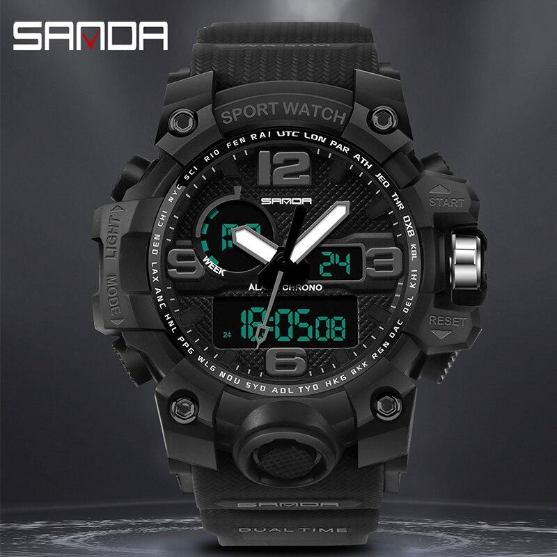 SANDA Men's Waterproof Electronic Watch Fashion Multifunctional Outdoor Sports Watch Digital Rubber New 2020 Metal Hardlex 46 enlarge