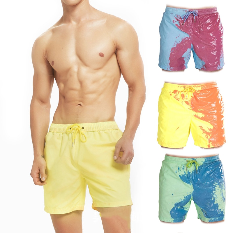 Color Changing Beach Shorts Men Quick Dry Swimwear Pants Warm Discoloration  Swimming Surfing Board
