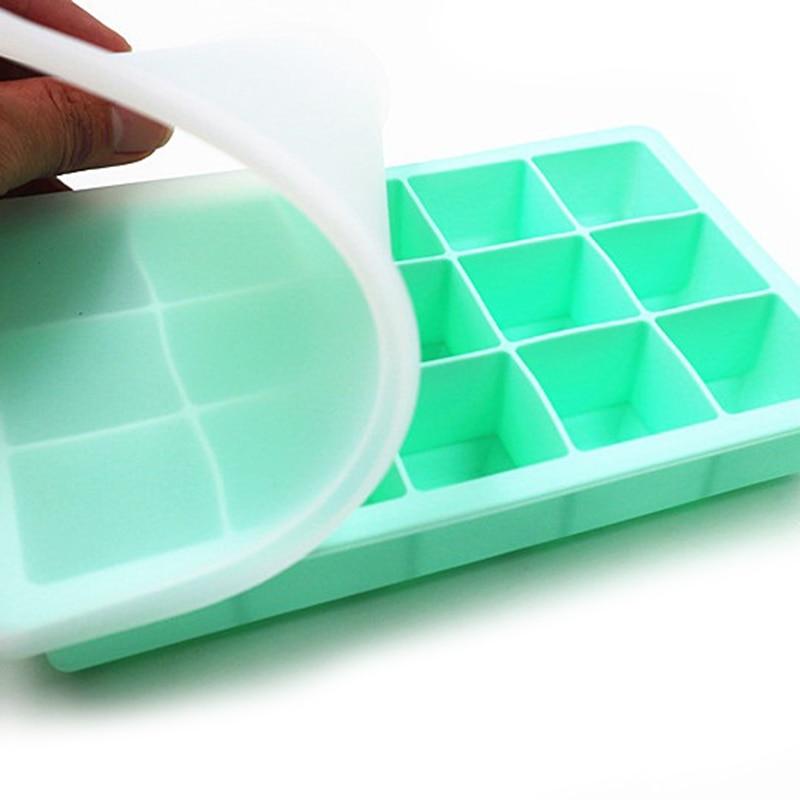 15 Grid Food Grade Silikon Ice Tray Ice Mold Ice Cube Box Mit Deckel Abdeckung Trinken Gelee Gefrierschrank Form eis maker Ausgestattete Eis Werkzeuge