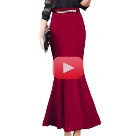 Sexy Autumn Winter Package Hip Vintage Long Mermaid Skirt Women Elegant Office Lady Trumpet Skirts with Free Belt Plus Size 3XL