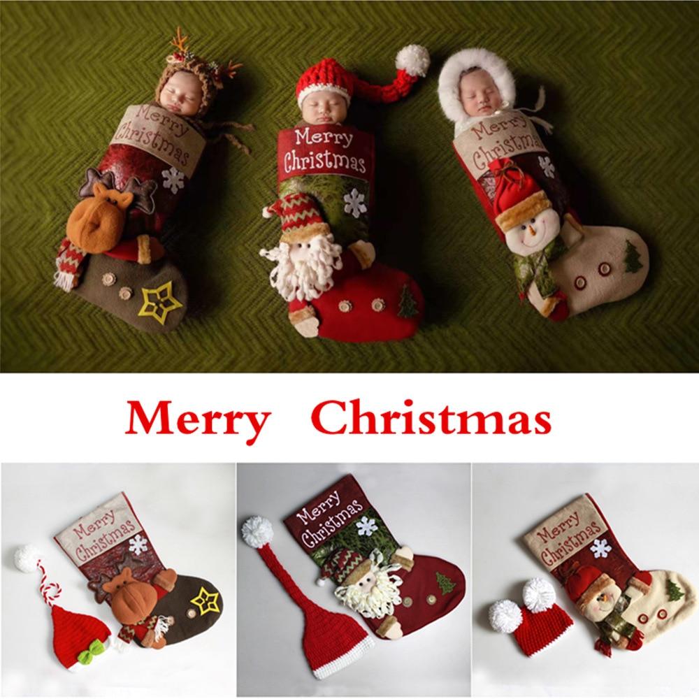 Punto de Navidad calcetines sombrero Sleepbag accesorios de fotografía recién nacido Santa Claus ganchillo pompón bebé sombreros de bebé, apoyos de la foto