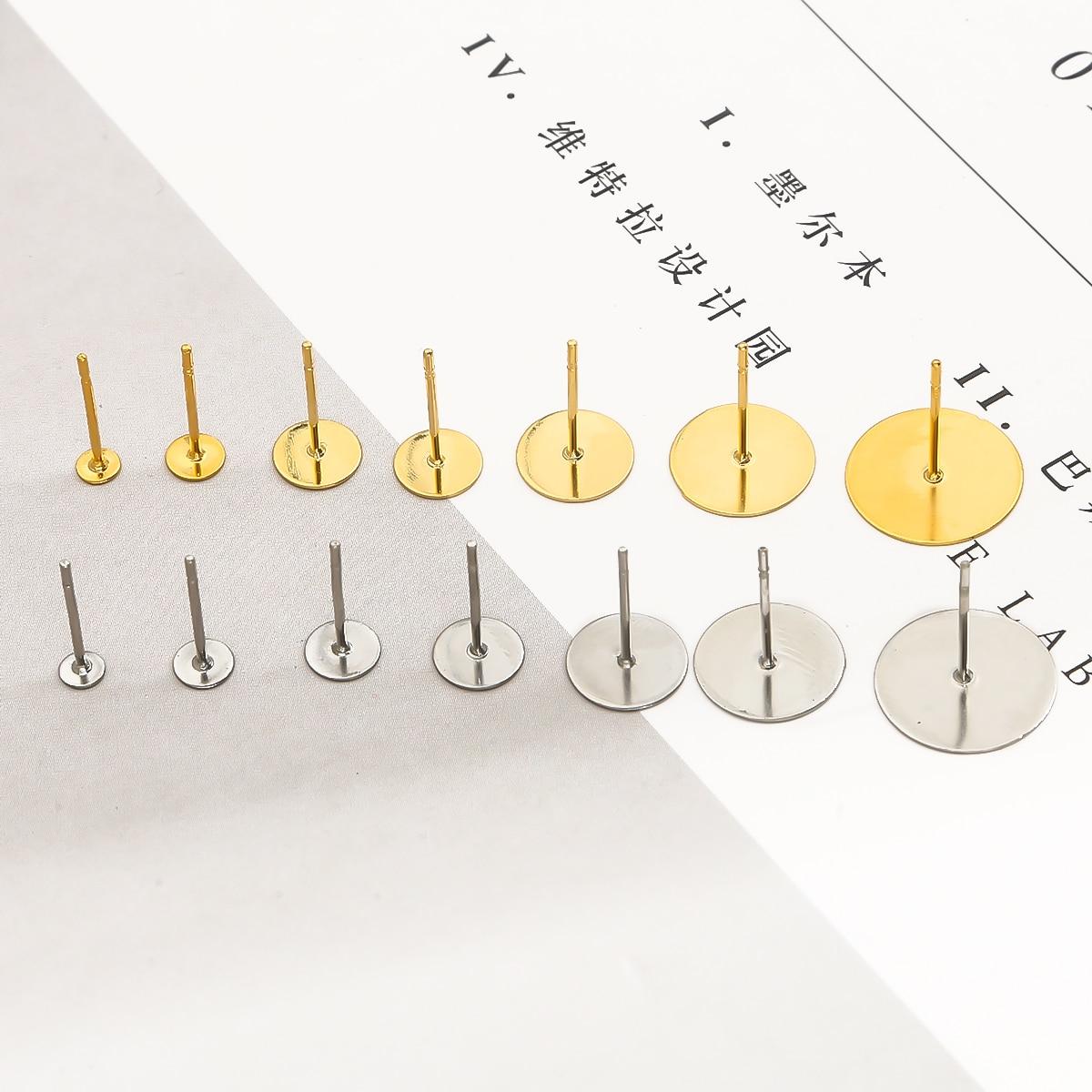 100 Uds Acero inoxidable blanco pendiente Base ajuste 3 4 5 6 8 12mm Cabochon ajustes del camafeo la fabricación de la joyería DIY Accesorios