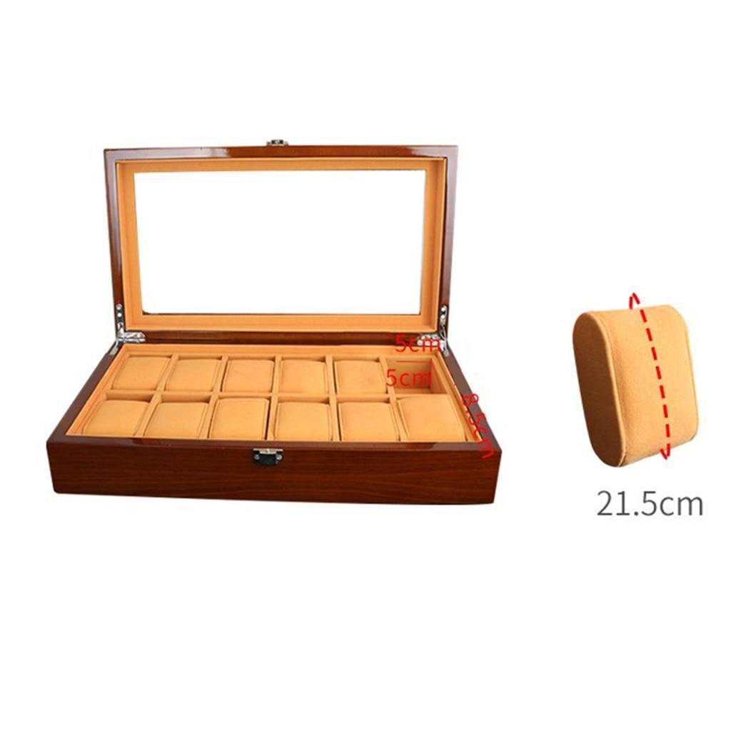 Caja de madera para reloj de 12 rejillas, caja organizadora de almacenamiento de joyas de vidrio